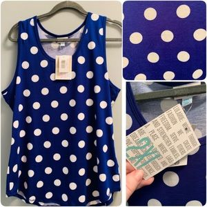 NWT LuLaRoe 2XL royal polka dot tank top.